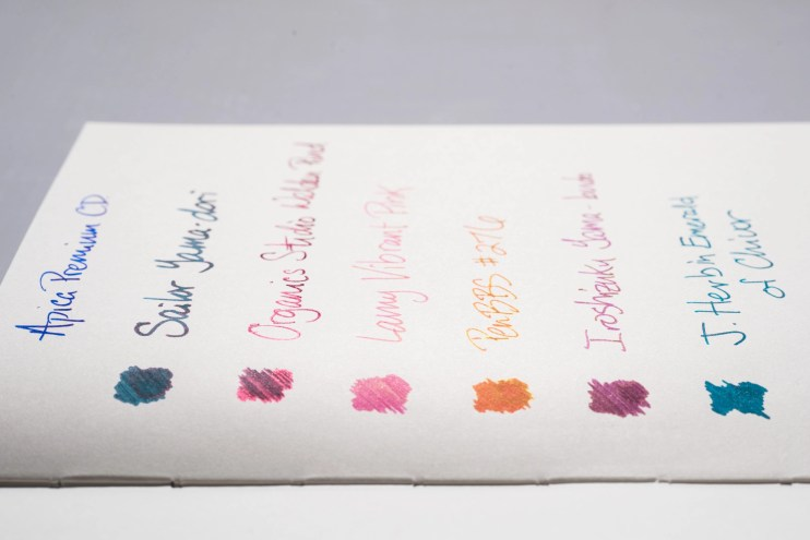 How does paper affect fountain pen ink sheen apica premium cd side view