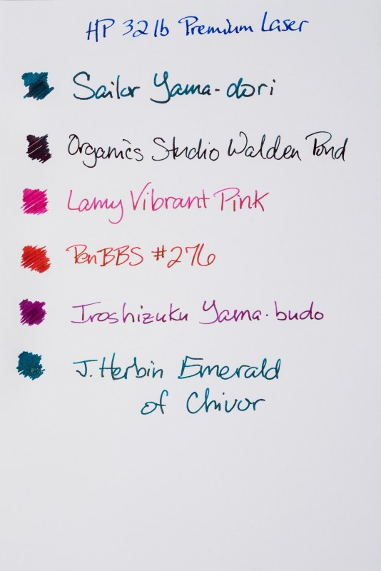 How does paper affect fountain pen ink sheen hp 32lb premium