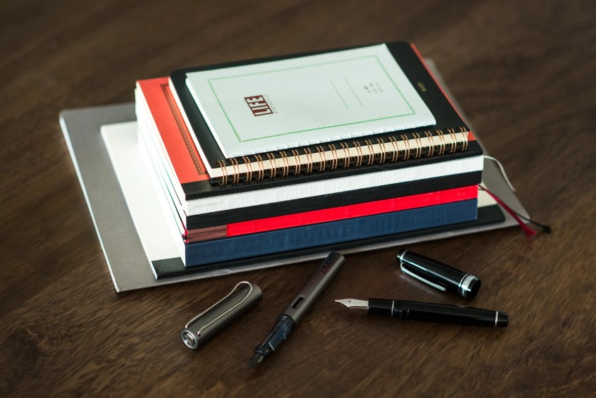 fountain pen friendly notebooks in a pile
