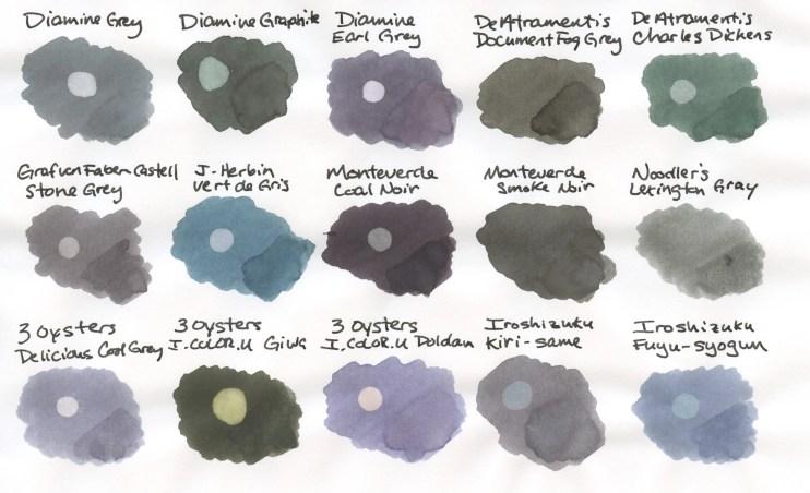 Grey Fountain Pen Ink Comparison swabs 1
