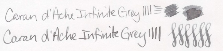 Grey Fountain Pen Ink Comparison Caran D'Ache Infinite Grey writing sample