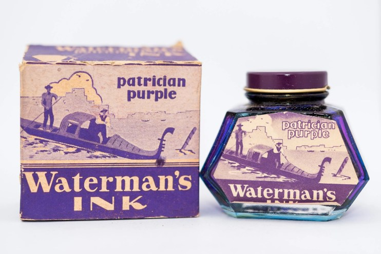 Identifying Vintage Fountain Pen Ink Bottles and Boxes waterman patrician purple