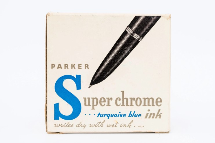 Identifying Vintage Fountain Pen Ink Bottles and Boxes Parker Superchrome