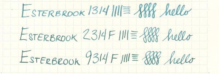 Esterbrook nib writing sample 9314F
