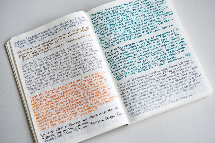 using fountain pens during quarantine journaling