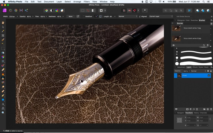focus stacking for fountain pen photography affinity photo finished image