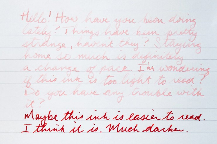 first letter to a pen pal hard to read ink