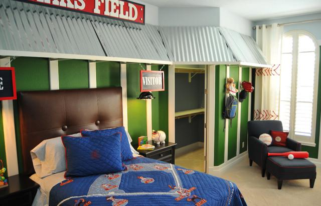 Bedroom With Baseball Themed Wall Decor