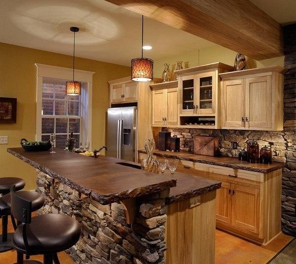 Modern cottage kitchen with bar stools   Founterior