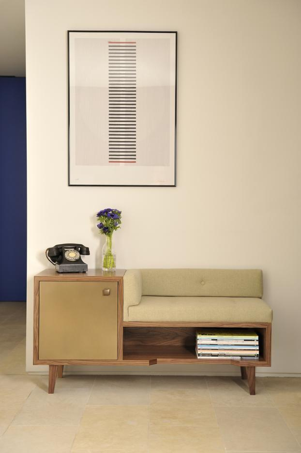 Hallway bench with storage  in midcentury modern design