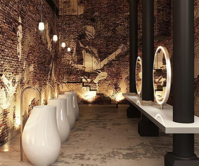 Modern Industrial Restaurant Restroom With Ultra