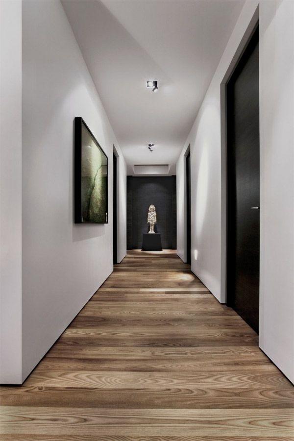 Clean black hallway door  with wide size   Founterior