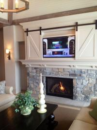 Fireplace decorating idea with TV 4 - and barn sliding ...