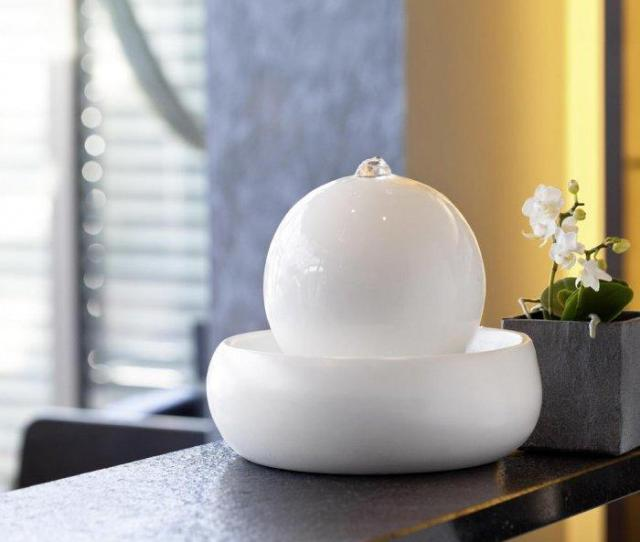 Ball Indoor Fountain In White