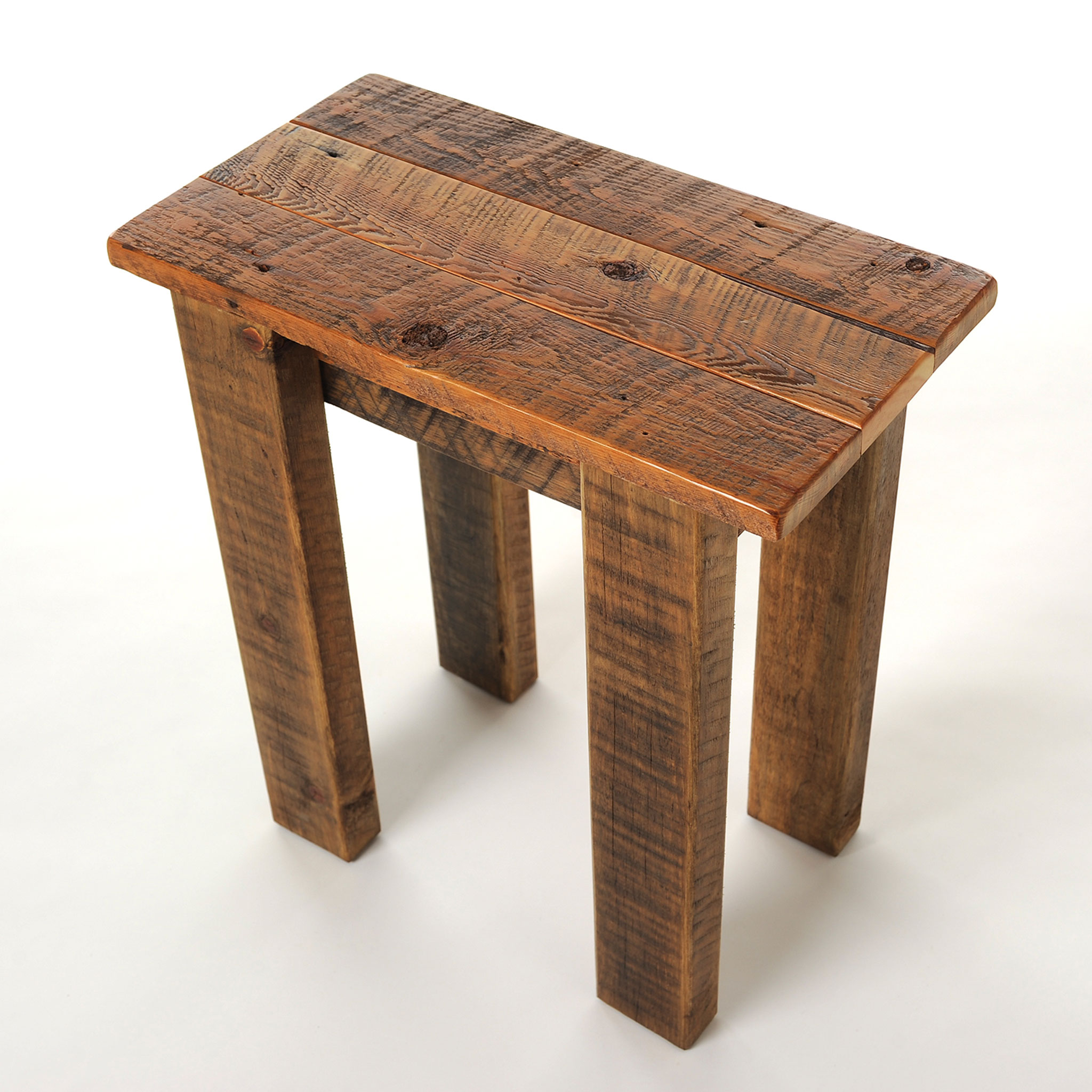 Simple Reclaimed Small Barnwood End Table  Four Corner