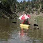 Cyndi happily paddling