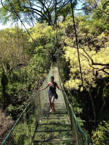 suspended rain forest bridge. I was actually not afraid. I was on a high from conquering my zip-lining fear.