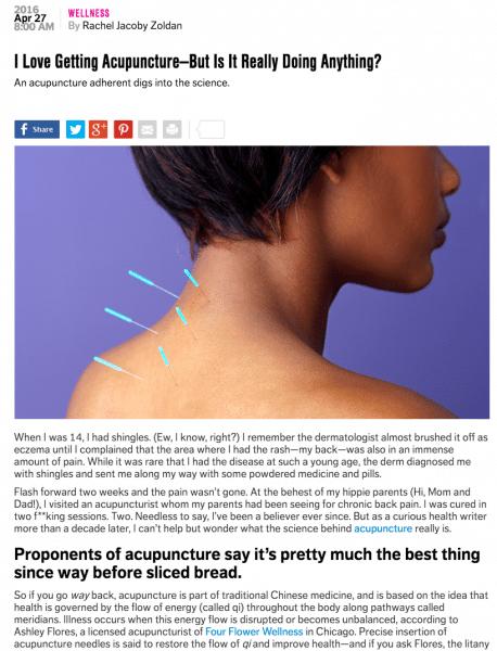 Chicago Acupuncturist in Self Magazine
