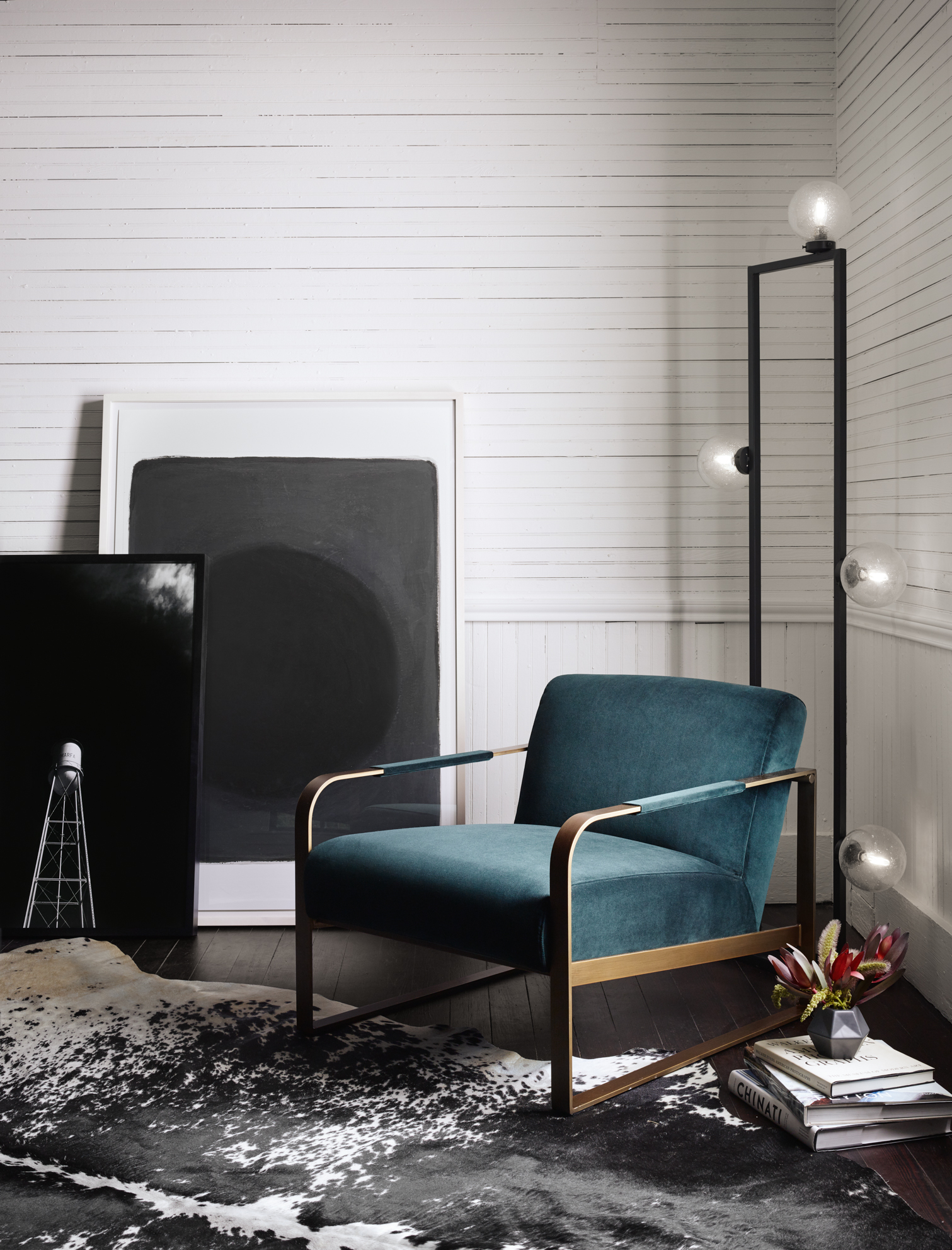 four club chairs in living room how to choose a rug for lookbook gallery jules velvet upholstered emerald chair clara old hollywood bubble floor lamp leaning art