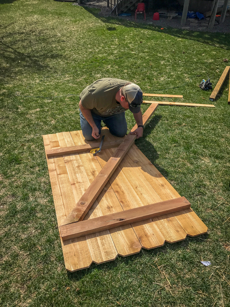 Use The Skill Saw To Cut Off The Bottom Edge. You Can Cut Is Anywhere Below  The Bottom 2X4 To Make The Door The Height. Dig Two Holes Three Feet Deep  And ...