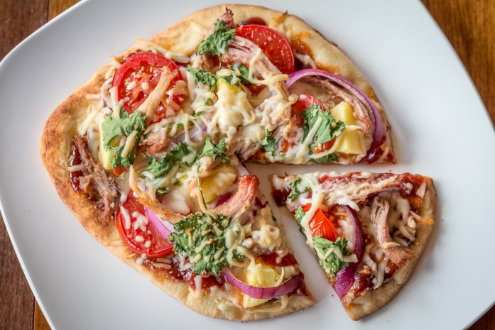 grilled bbq pizza with naan crust