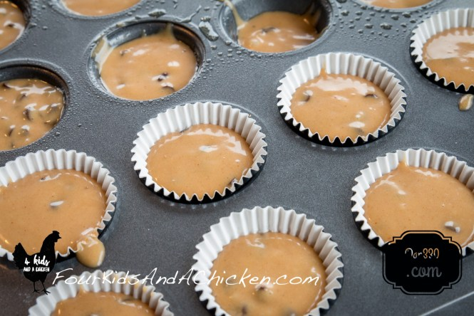 close up of the batter in the muffin pans. You can see it can be down with or without a paper cups.