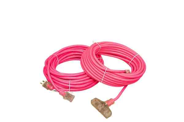 12 GAUGE PINK EXTENSION CORD SINGLE AND TRIPLE TAP LIGHTED ENDS