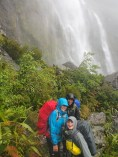 Very wet after crossing the river below Earland Falls!