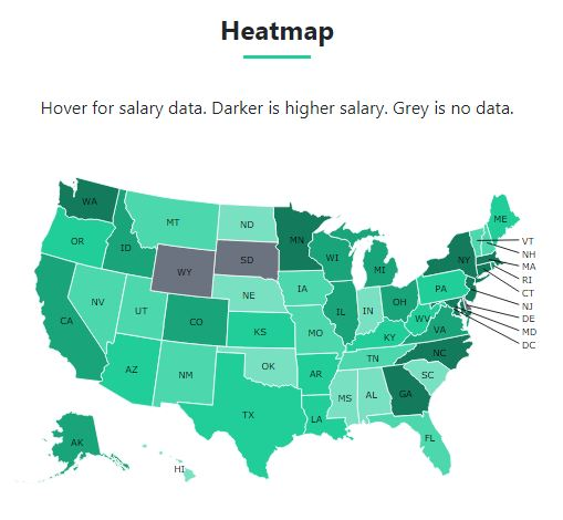 Heatmap of statistician salary by state