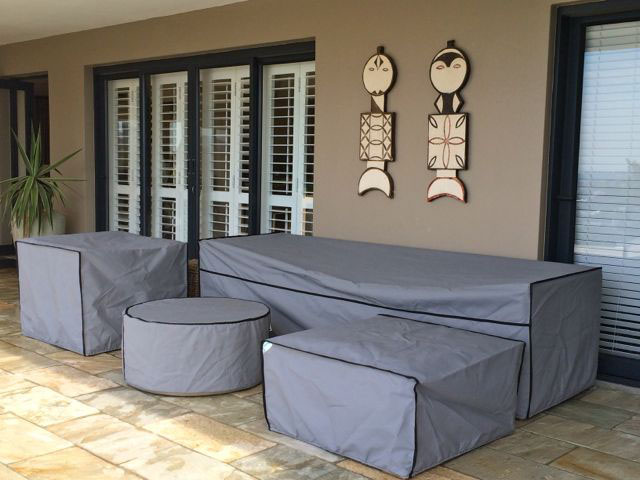 Grey with black trim lounge covers