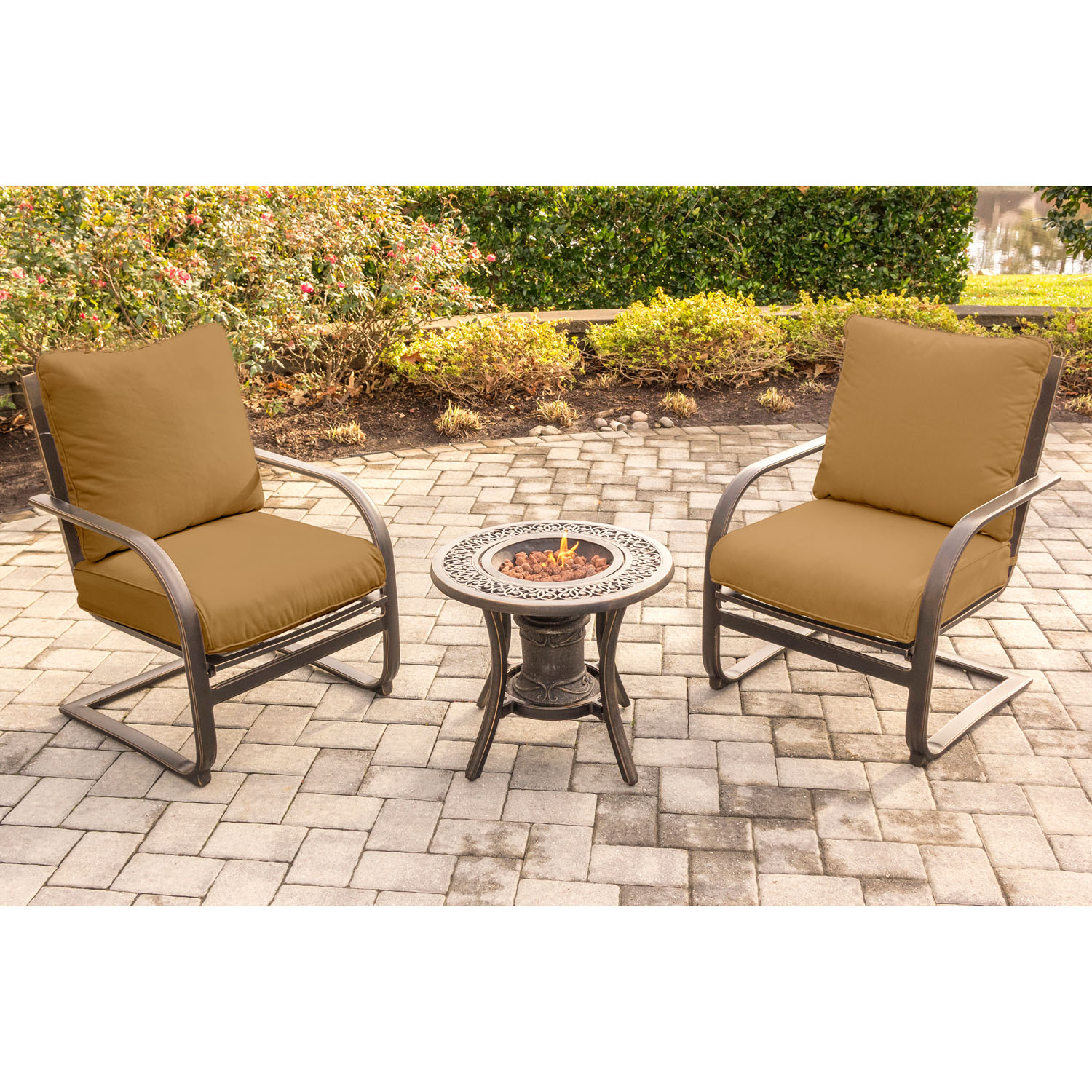 Fire Pit Table And Chairs Set Summer Nights 3pc Fire Pit Chat Set With 2 C Spring Chairs
