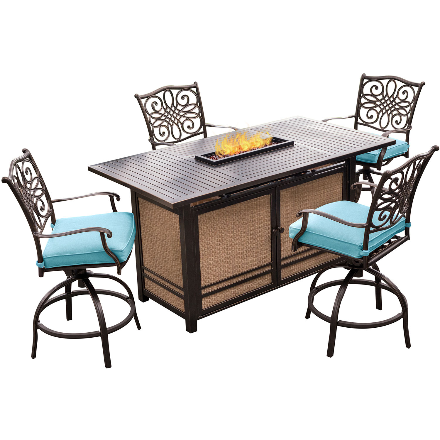 Fire Pit Table And Chairs Set Hanover Traditions 5 Piece High Dining Set In Blue With 4