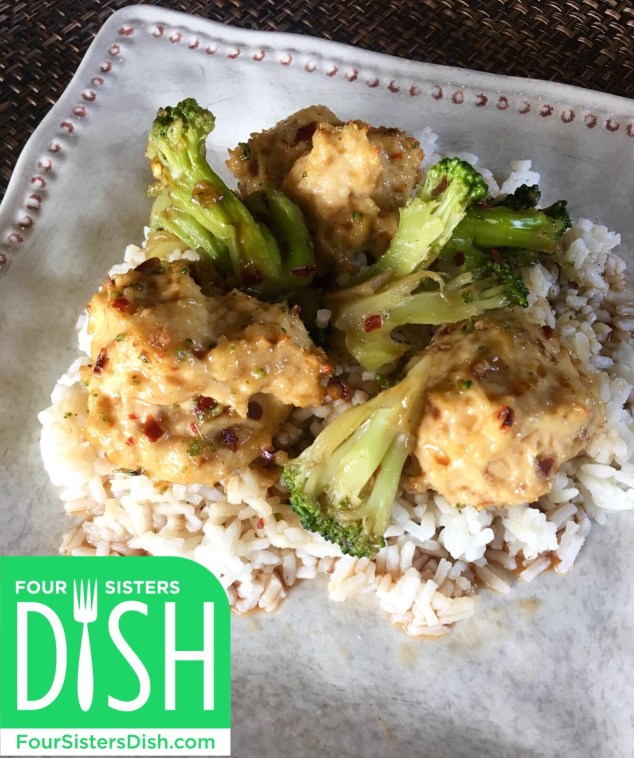 Spicy Asian Chicken Meatballs with Broccoli
