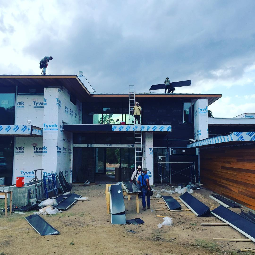 home under construction along the shores of and execution by the @foursquarebuilders team.