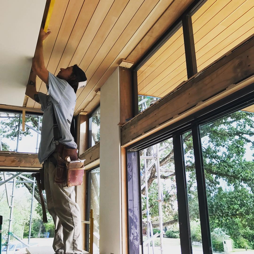 Vertical grain Douglas Fir ceilings installed by our craftsmen. Built by @foursquarebuilders