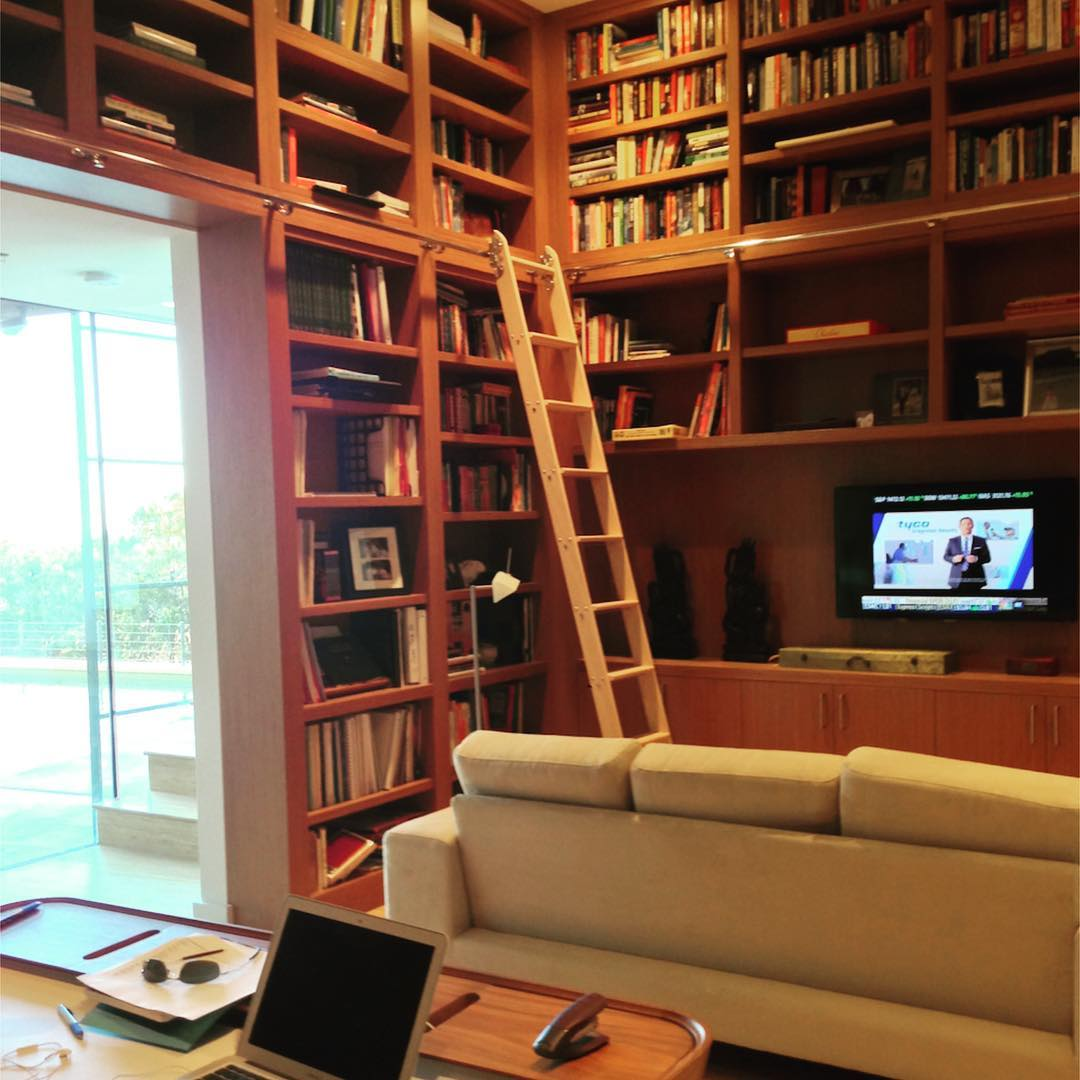 Stranded Teak Eco-wood veneer bookcases in our Graciosa library. Built by @foursquarebuilders Designed by @webberstudio