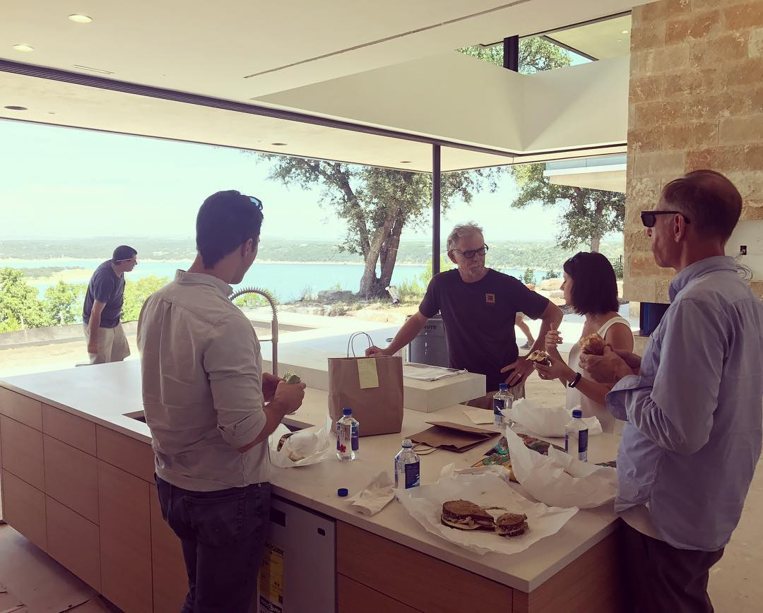Enjoying handcrafted sandwiches from @waltonsaustin at our @dc_architecture Designed home with the Architecture team of Mr. Cool, Kevin Gallegher, Kim Power, and Breck Craparo. Built by @foursquarebuilders