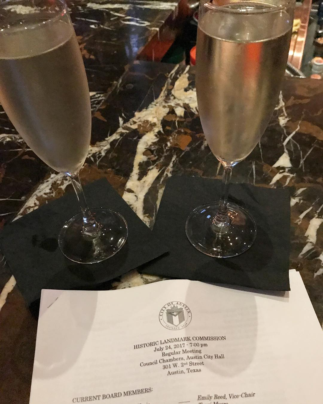 A Foursquare tradition! Champagne celebration after getting through City of Austin Historic Landmark Commission for our Terrytown project.