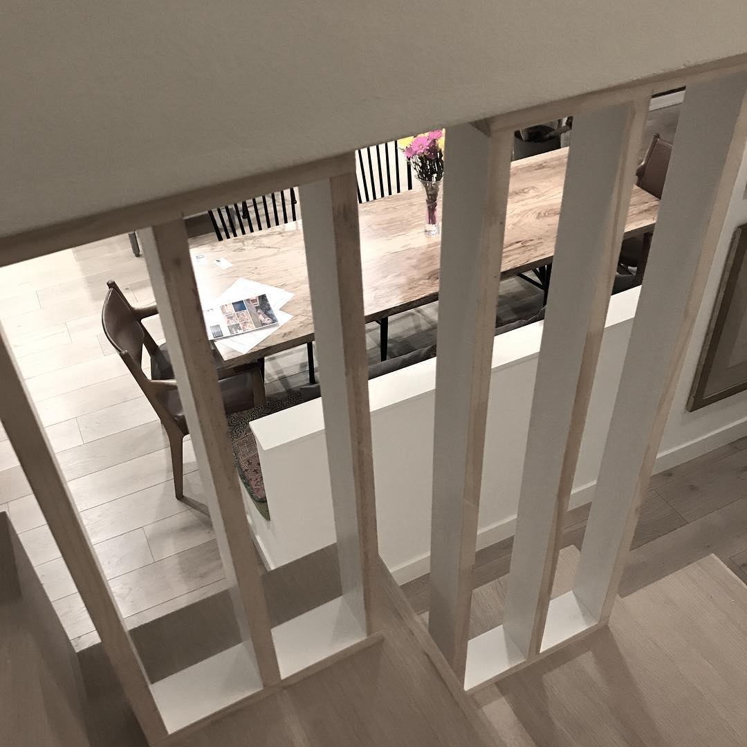 Need your feedback on this stair railing idea I'm working on.  Painted or White Oak? Designed by @foursquarebuilders