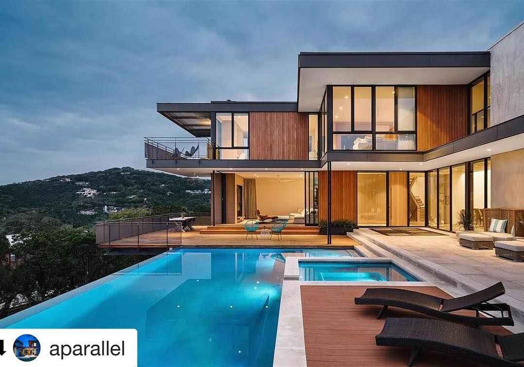 Beautiful design by @aparallel Architecture. Built by @foursquarebuilders Pool by @designecology Window/Door Systems by @western_window_systems Thanks @architectural_impressions for the great Install.