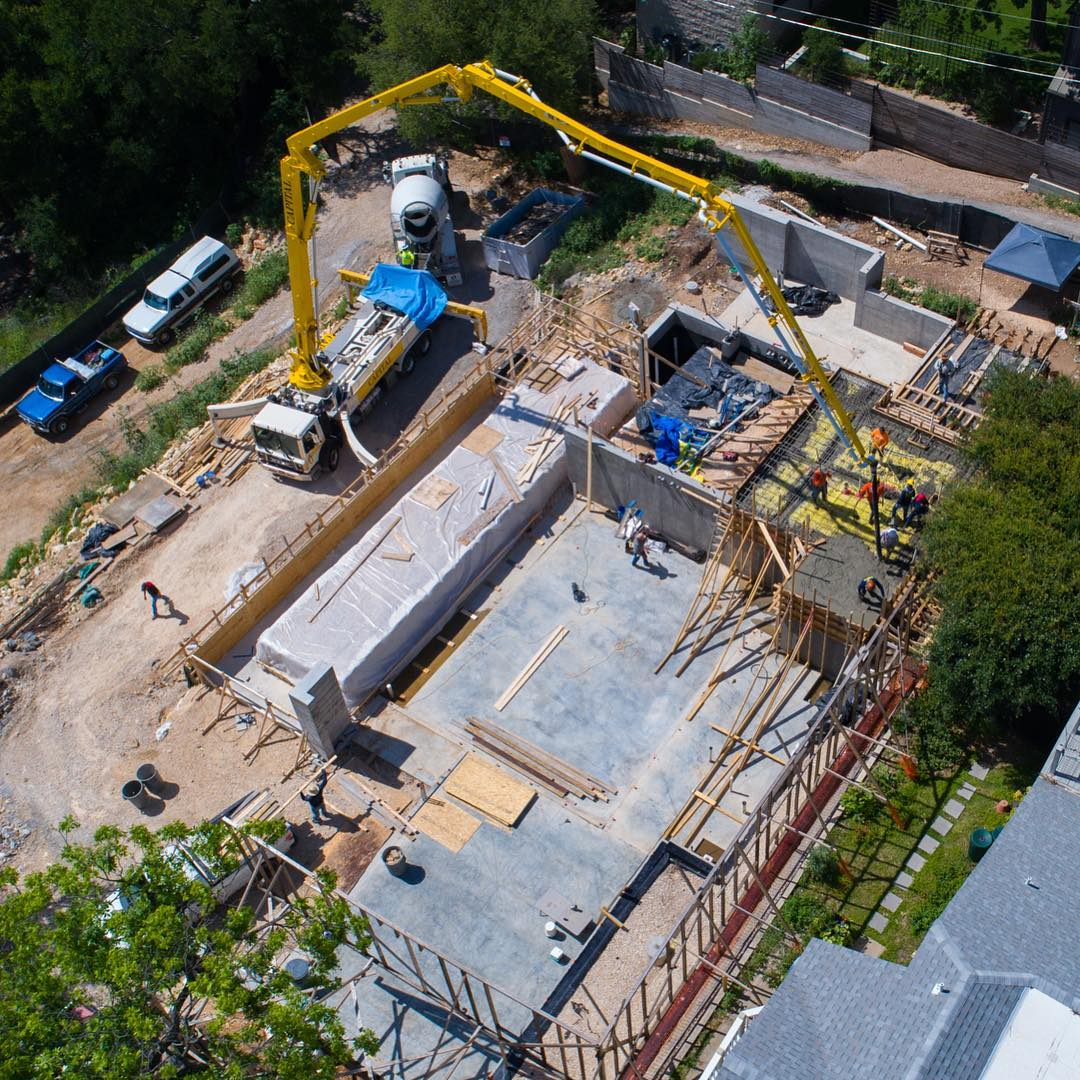 Months of planning and scheduling over 12 concrete pours about to come to an end. @laruearchitects @foursquarebuilders @boothe_concrete @redpantsstudio @lovecounty