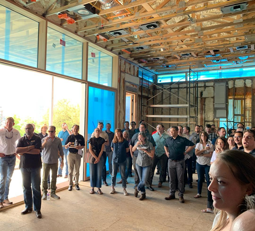 Awesome to have our project on the AIA Austin CRAN luncheon today. So many great Architects and Builders were able to view our work. Thank you Exclusive Windows and Doors for sponsoring lunch. Interiors by @lovecounty
