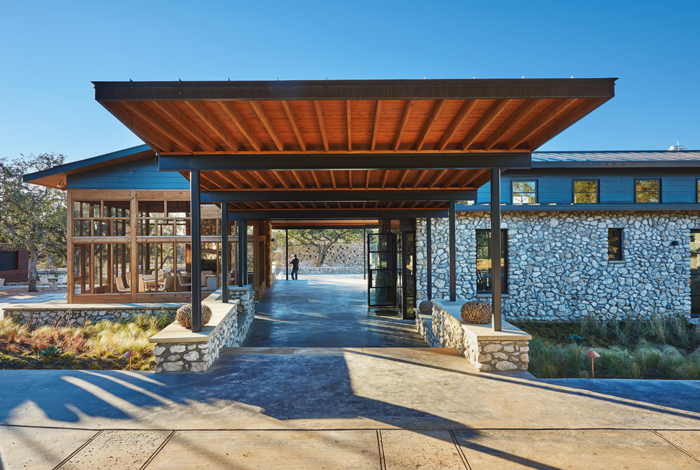 Locally sources stone provide structure and familiarity to guest as they arrive.