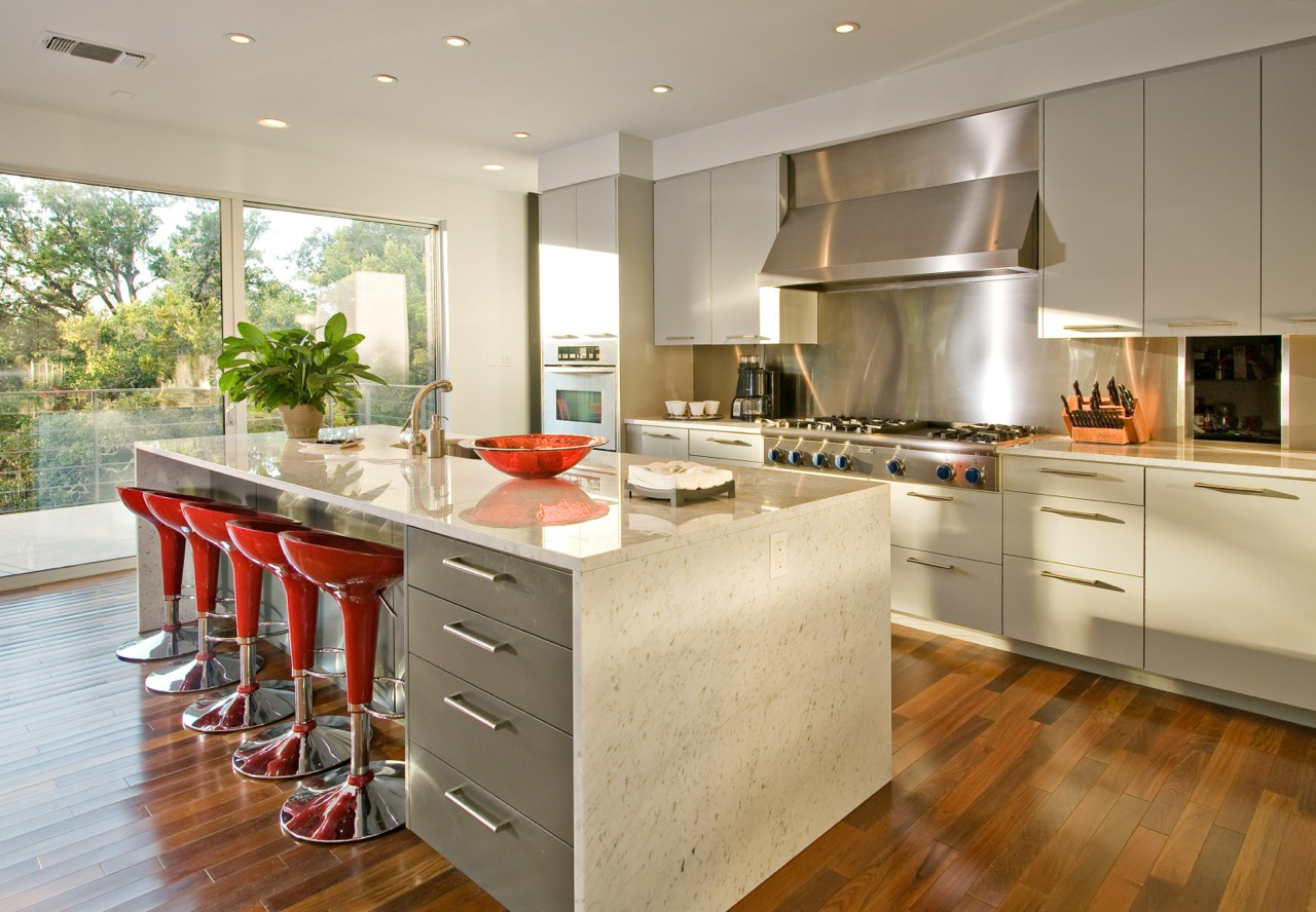 Pro style kitchen features marble countertops.
