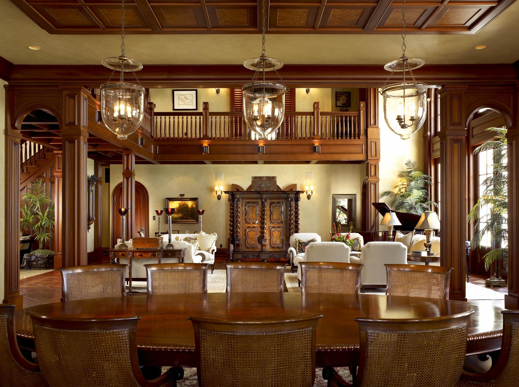 Venetian plaster and mahogany trim.