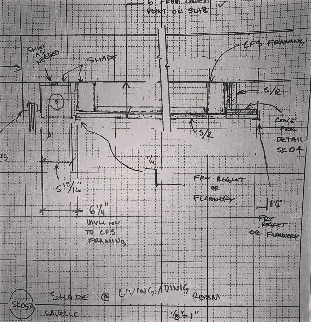 Always love a good Design/Build drawing, which solves both a shade pocket and cove lighting detail, by our Head of Construction.