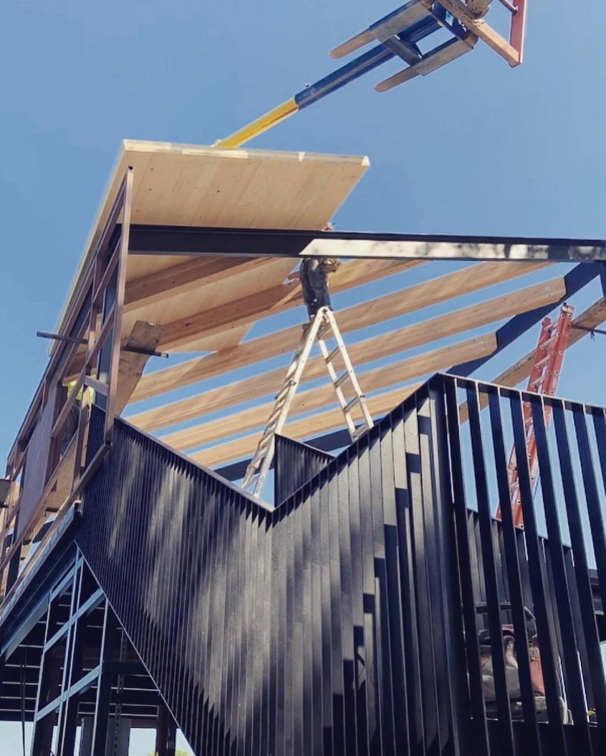 CLT frame installation on our Lake Austin boat dock. Designed by @breckstudio