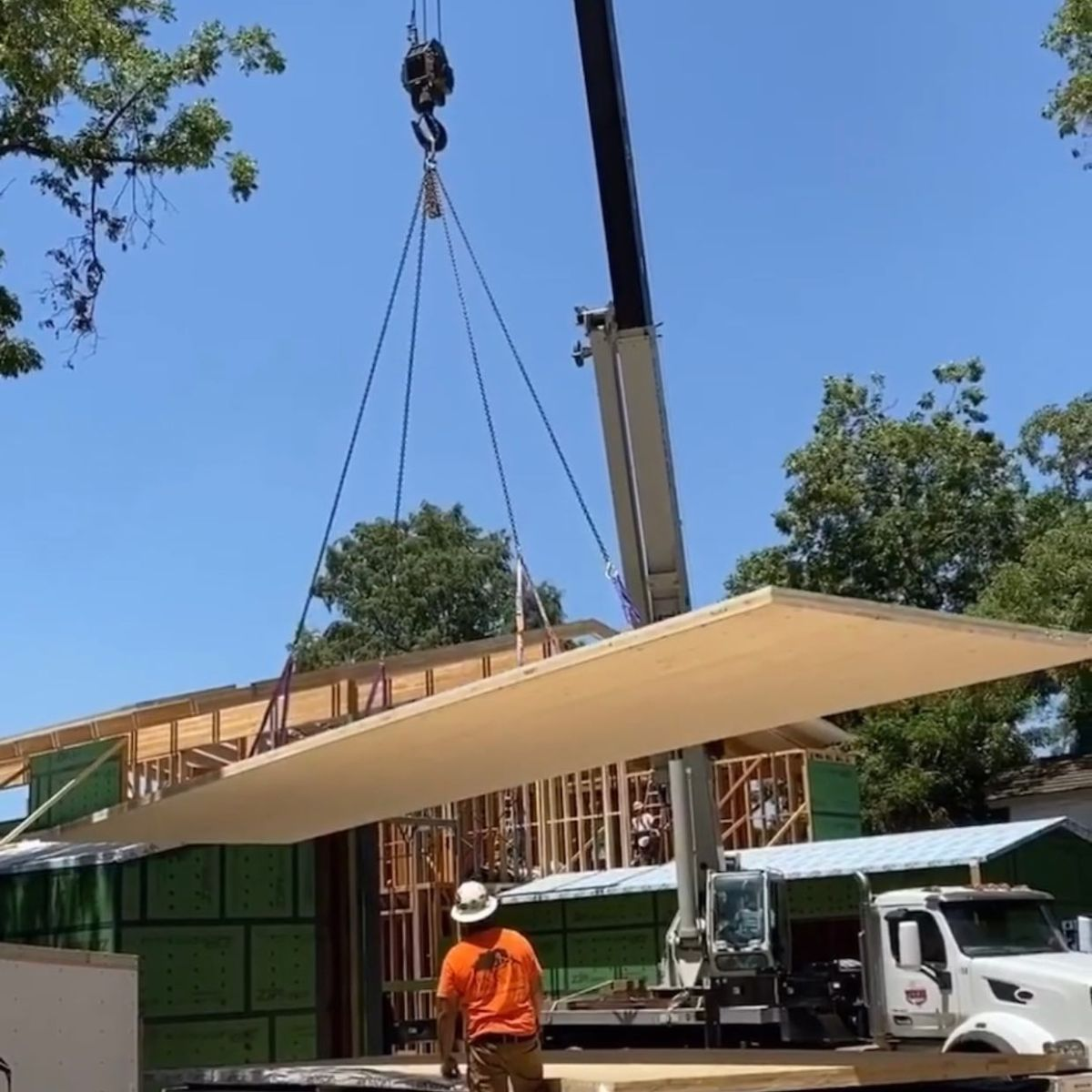 More CLT's going in on our Lake Austin residence designed by @breckstudio Framing by @texas.timber.frames