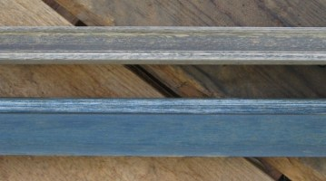 Weatherd painted finish and UV distressed laqure which turned blue.