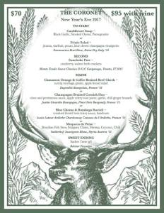 New Years Eve Dinner Menu, Courtesy of The Coronet in Tucson, AZ.